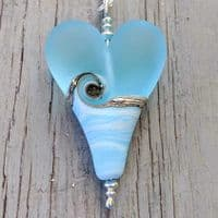 Sea Breeze Heart Pendant Extra Large | Glass Pendant | Julie Fountain